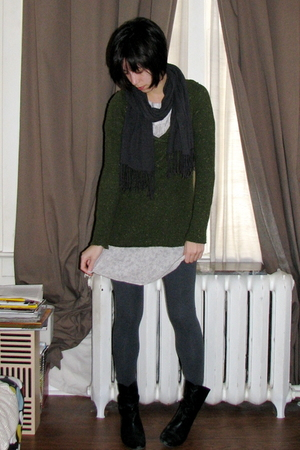 green coincidence & chance sweater - gray Zara leggings - white Zara dress - gra