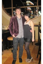 deep purple H&M blazer - light brown Steve Madden shoes