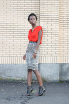 snake print H&M skirt - carrot orange ann taylor top - black Dolce Vita heels