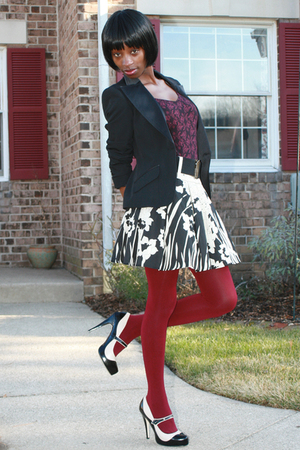 beige Forever 21 skirt - beige Bakers shoes - tights - ann taylor top