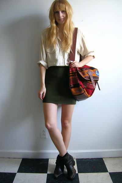 white thrifted blouse - green thrifted skirt - brown Dingo boots - brown Penfiel