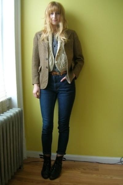 H&M via boyfriend shirt - vintage vest - vintage from stoop sale blazer - vintag