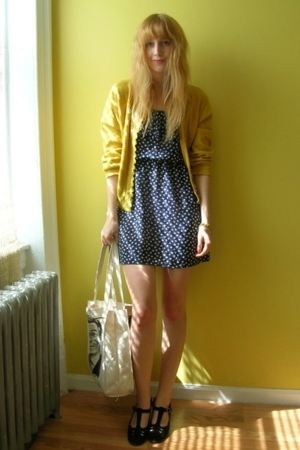 vintage from Buffalo Exchange dress - vintage from Beacons Closet sweater - vint