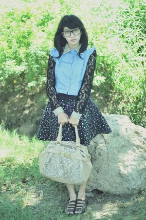 lace and denim Miss Sixty top