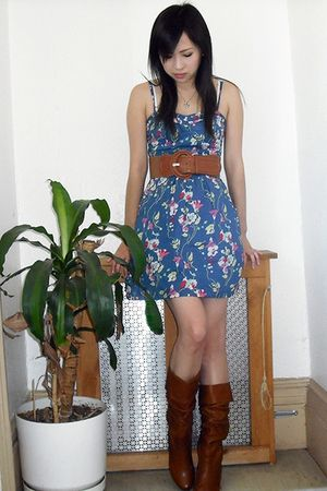 blue American Eagle dress - brown Nordstrom BP belt - brown Steve Madden boots