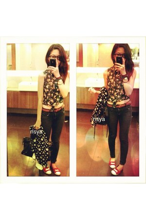 blue floral denim Forever 21 vest - red Converse shoes