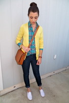 JCrew shirt - Forever 21 jeans - American Eagle sweater - Zara bag