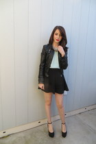 Forever 21 skirt - Bebe jacket - Forever 21 blouse - sam edelman wedges