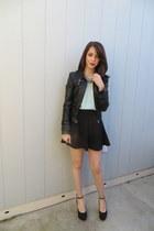 Forever 21 skirt - Bebe jacket - Forever 21 blouse - sam edelman wedges