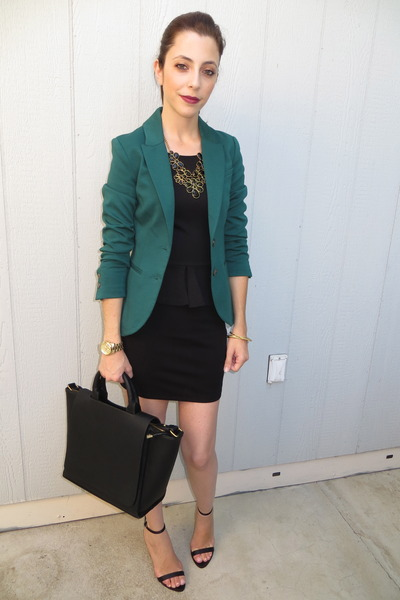 H&M blazer - Zara dress - Zara bag - Forever 21 necklace - Zara heels