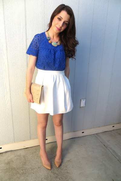 banana republic necklace - Forever 21 bag - JCrew skirt - JCrew top