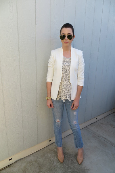 H&amp;M blazer - Forever 21 jeans - Forever 21 sweater - BCBG heels