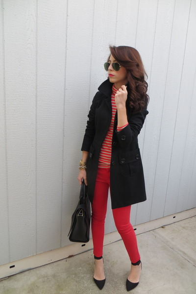 Zara bag - Nordstrom coat - Zara heels - Gap pants - JCrew blouse