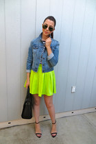 Zara bag - Urban Outfitters jacket - Teen Vogue skirt - Zara top - Zara heels