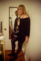 black BFT boots - black tights - navy shorts - black Abbey Dawn top