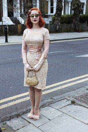 lace vintage dress - Tom Ford sunglasses - Topshop heels