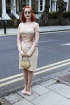 lace vintage dress - Tom Ford sunglasses - Topshop heels