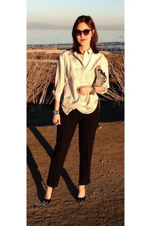 blouse - snakeskin bag - tuxedo pants - pointy captoe pumps