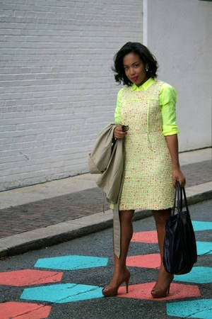 neutral Gap coat - nude Zara shoes - yellow JCrew dress - yellow JCrew shirt