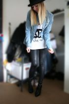 blue Zara blouse - black H&M leggings - black second hand hat - black H&M shoes
