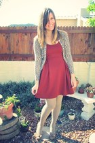 burnt orange apricot dress - tan shoes - camel Woolworths tights