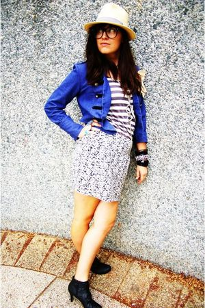 gray Dotti skirt - blue jacket - black Spendless boots - supre shirt - silver ri