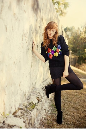 black thrifted sweater - black Urban Outfitters tights - black Charlotte Ronson
