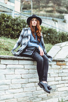 studded cult shoes - Zara coat - pull&bear jeans - Grevi hat - jeans H&M shirt