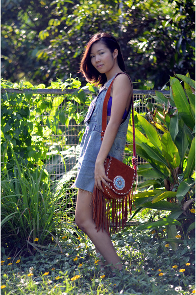 indian bag vintage bag - denim dungaree thrifted vintage romper