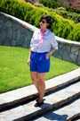 Blue-tahari-shorts-white-adrinna-papell-blouse-brick-red-gh-bass-loafers