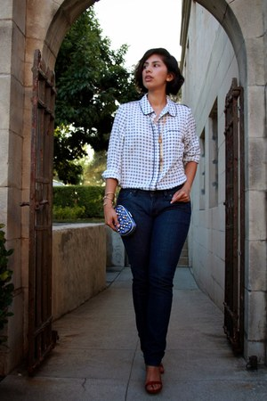 navy Express jeans - white Adrinna Pappell blouse - ruby red Steve Madden heels