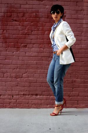 navy calvin klein jeans - blue Jones New York top - ruby red Steve Madden heels