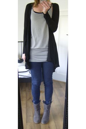 gray united colors of benetton top - black Zara cardigan - blue Vila leggings -