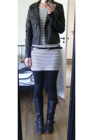 white H&M dress - black Jacket jacket - black Dolcis boots
