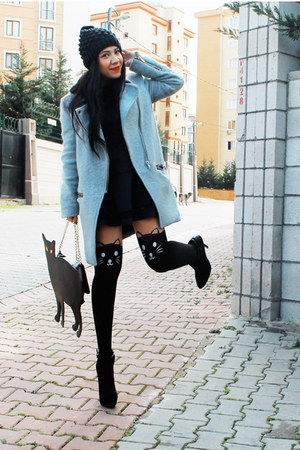 asos bag - Zara dress - Stradivarius coat - Choies tights