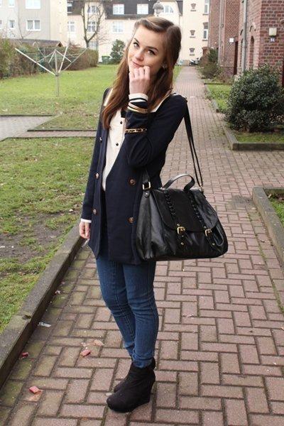 Yesstyle blazer - black H&M bag - black vintage Moschino belt - black Nelly wedg