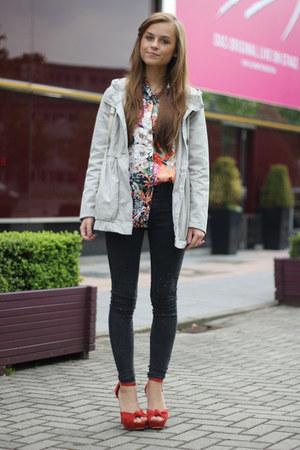 Missguided heels - H&M coat - floral print romwe blouse