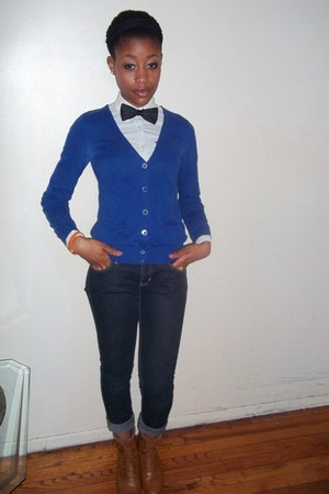black H&amp;M tie - abercrombie and fitch shirt - blue H&amp;M cardigan