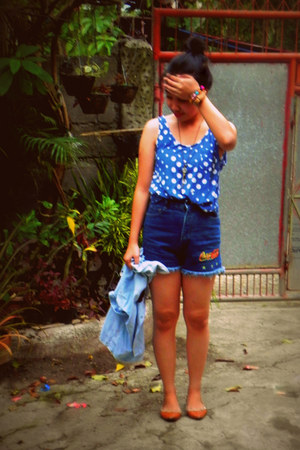 navy Coca Cola shorts - blue polka dots Forever 21 top