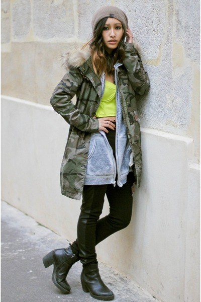 olive green army jacket Choies coat