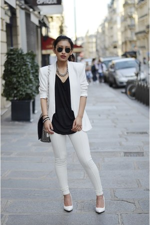 white H&amp;M blazer - white Mango heels - white Yesstyle pants
