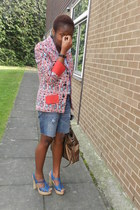 african print custom made blazer - bronze Mango bag