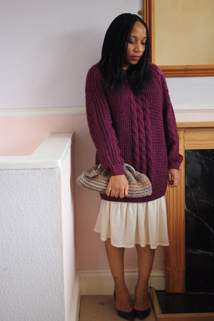 chunky knit new look jumper - crochet clutch handmade bag