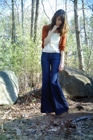 navy bellbottoms Gap jeans - burnt orange Target cardigan - cream Forever 21 top