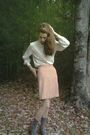 White-pendleton-blouse-orange-tucker-for-target-skirt-gray-socks-brown-et