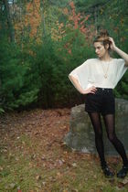 white Forever 21 blouse - black thrifted Guess shorts - black no idea stockings