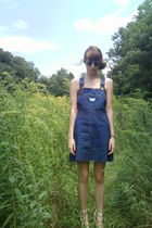 blue Vintage Madewell Overalls dress - green Target Tank top - white thrifted es