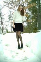 black velvet thrifted J Crew dress - off white cable knit thrifted sweater - bla