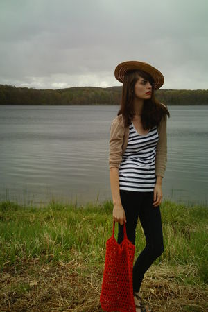gold Thrifted Boater hat - blue Target top - beige Forever21 cardigan - blue ae