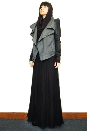 black Notte Marchesa dress - gray Rick Owens Drkshdw jacket